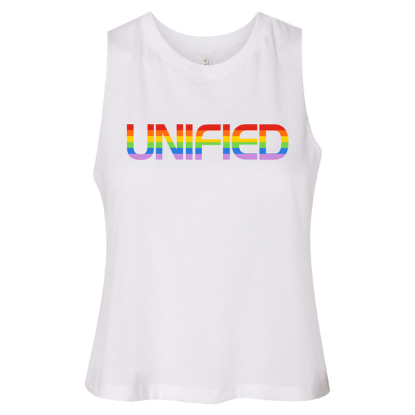 Unify Pride 2019 - Racerback Crop Top (Solid White Blend)