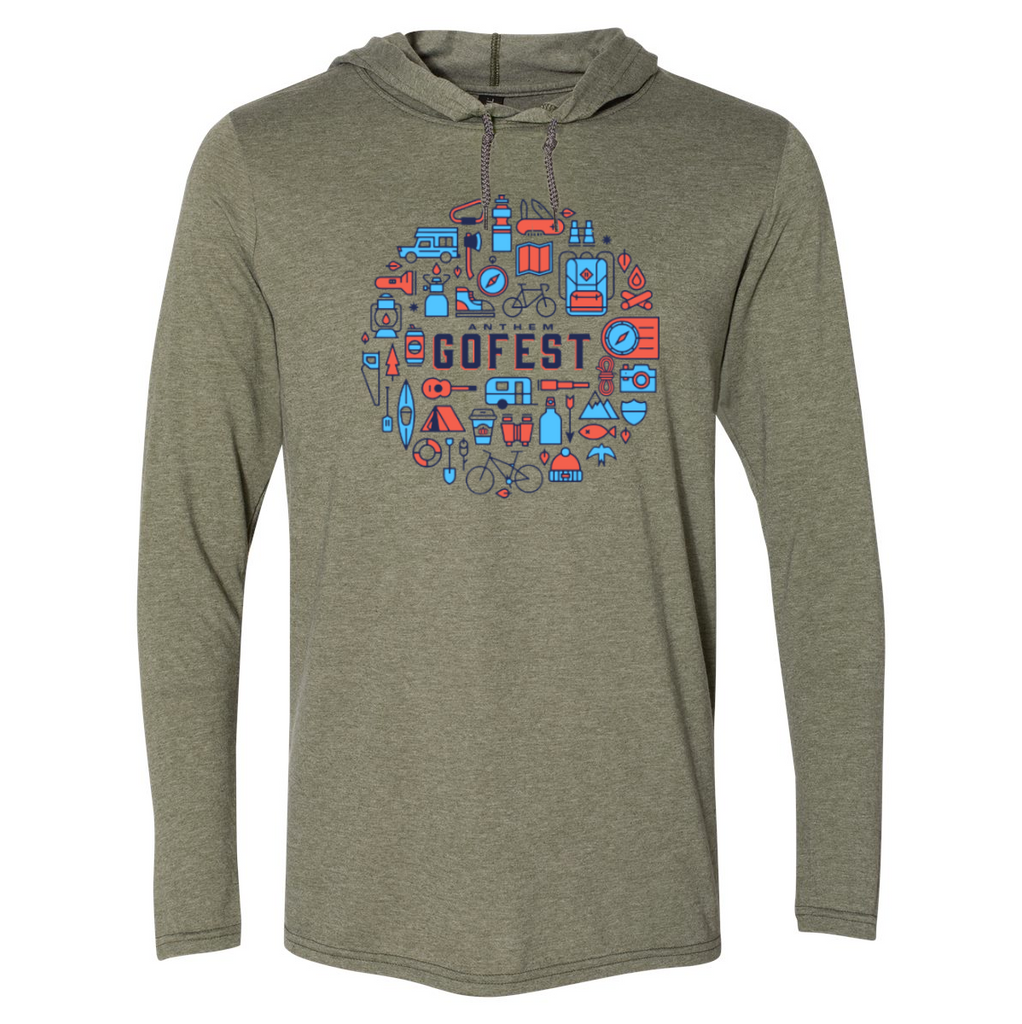 2020 GoFest - Icons Hooded T-Shirt (Heather City Green/ Dark Grey)