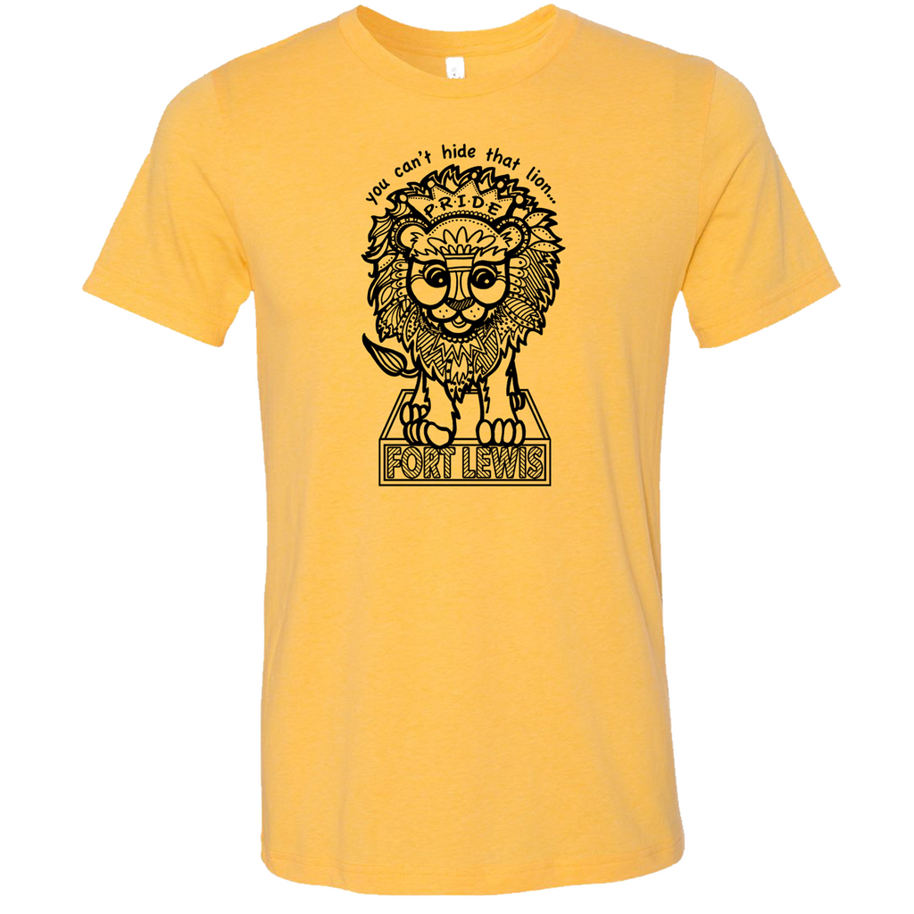 Fort Lewis Lion Pride Super Soft Tee- Heather Yellow Gold