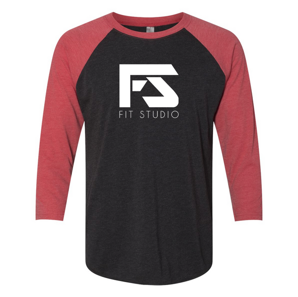 Fit Studio - Unisex 3/4 Sleeve Raglan - Red/Black