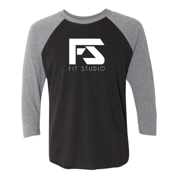 Fit Studio - Unisex 3/4 Sleeve Raglan - Black/Grey