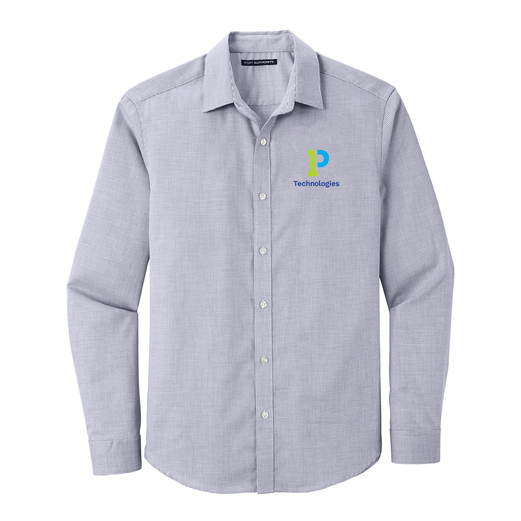 Pin Check Easy Care Embroidered Dress Shirt- Ladies & Unisex Options