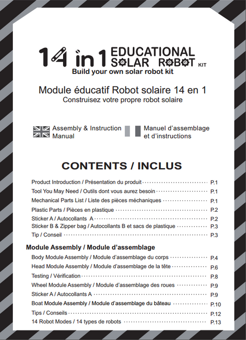 FREE 14 in 1 Educational Solar Power Robot Instruction in French and English