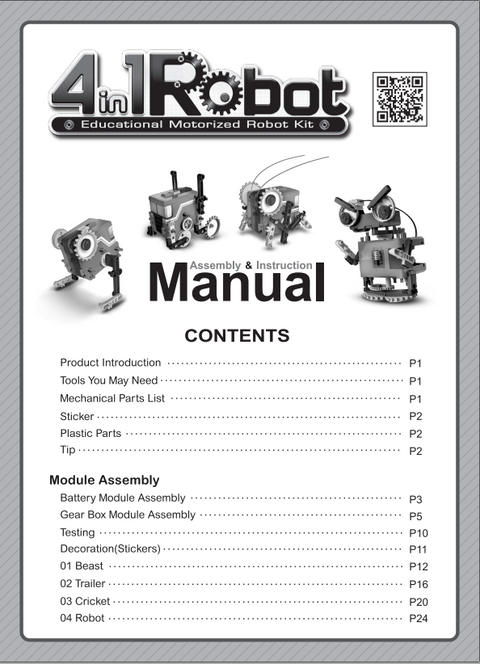 FREE Download EM4 Educational Motorized Robot kit Instruction manual