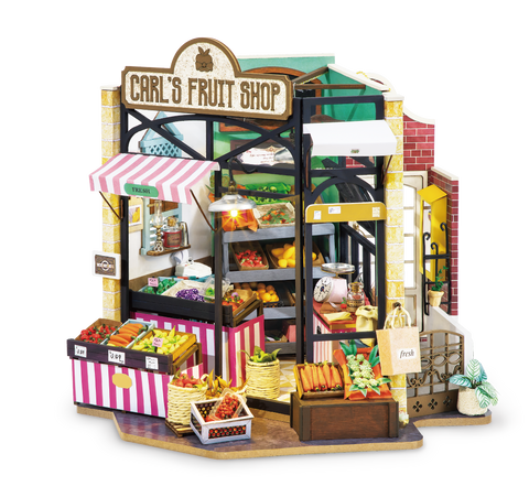 DIY Carl's Fruit Shop Doll House with Furniture Children Adult Miniature Dollhouse