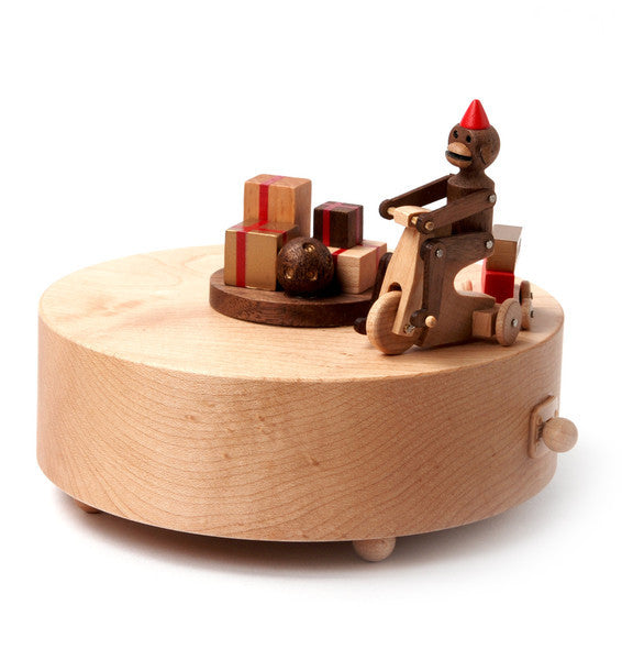 Wooderful Life Wooden Music Box Monkey Riding The Bike
