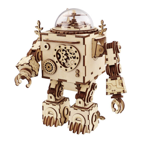 Wooden Mechanical Gears Robotime 3D Puzzle DIY action & toy figures Assembled Wooden Jointed  Robot Model