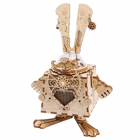 Wooden Mechanical Gears Robotime 3D Puzzle DIY Movement Assembled Wooden Rabbit Model