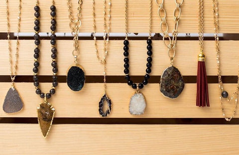 Necklaces handmade with gold plated chain and natural gemstones.