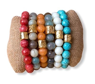 Handmade Natural Gemstone Stretch Bracelets - Swara Jewelry