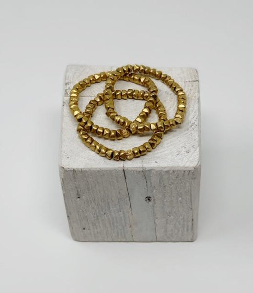 Brass Nugget Stretch Bracelet-Handmade