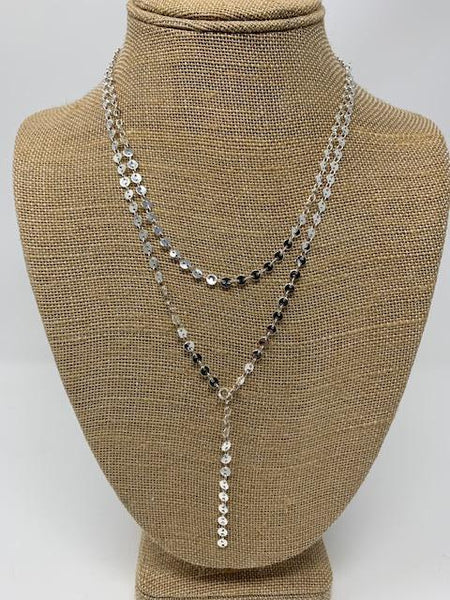Silver Plated Lariat Necklace - Swara Jewelry