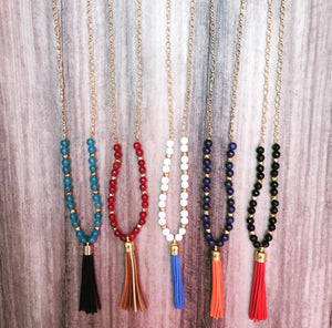 Tassel Necklace with Gemstones - Swara Jewelry