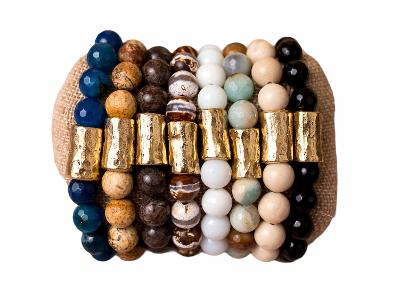 Beaded Stretch Bracelet Natural Gemstones Large Nugget Spacer