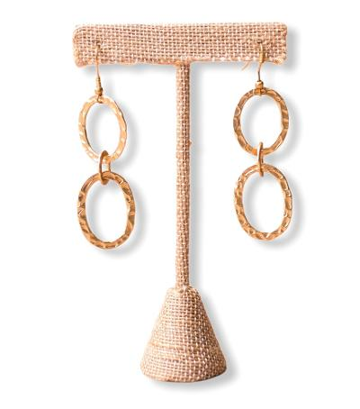 Triple Hoop Hammered Earrings - Gold Plated - Swara Jewelry