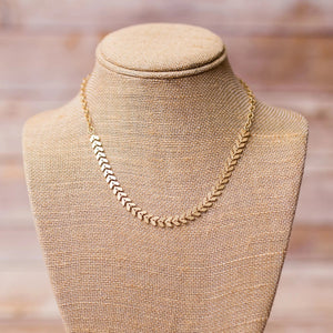 Chevron Gold Plated Necklace - Swara Jewelry