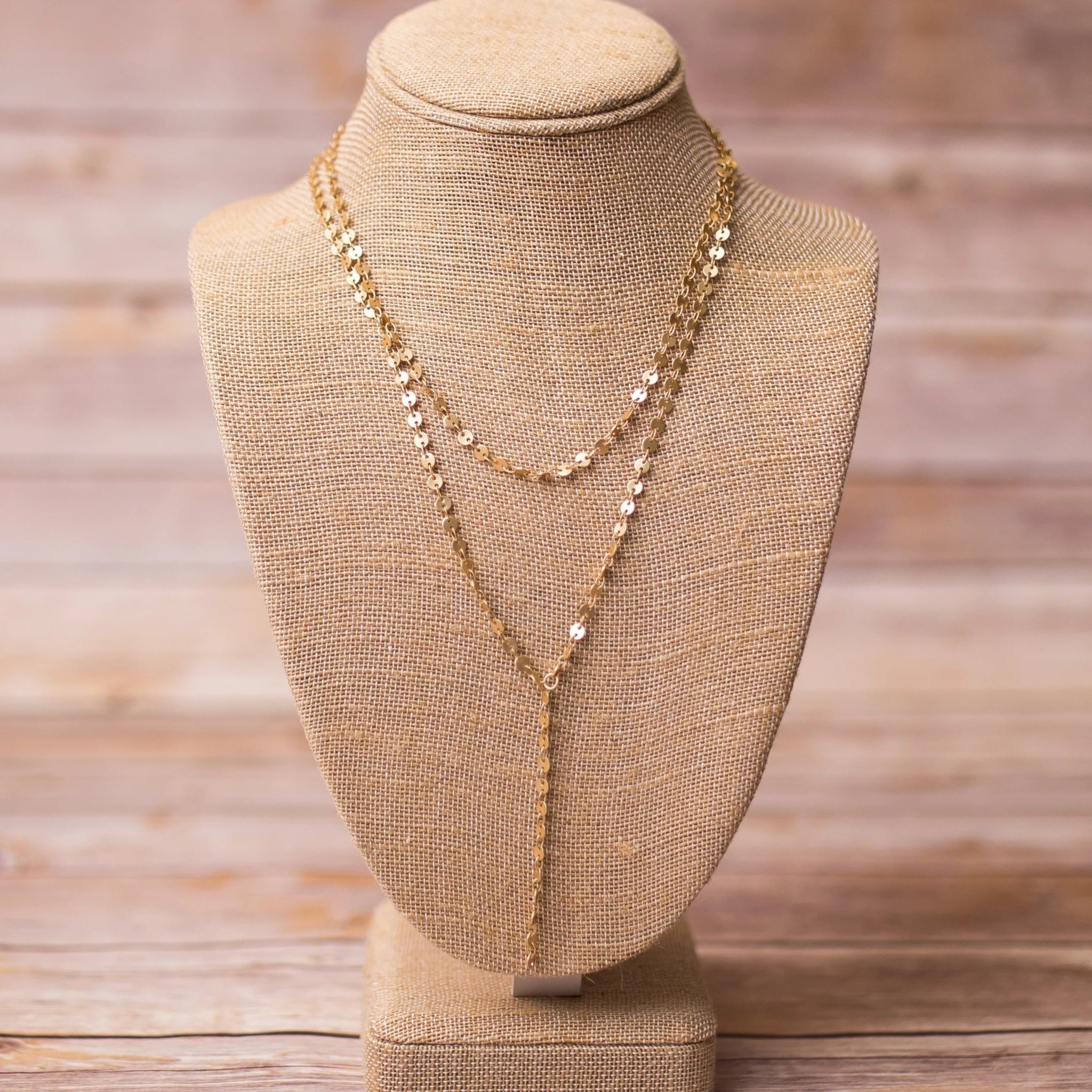 Gold Plated Lariat Necklace - Swara Jewelry