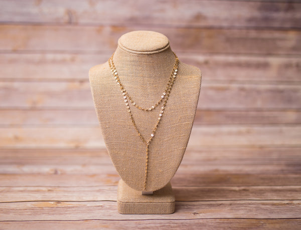Gold Plated Double Layer Lariat Necklace - Handmade - Swara Jewelry