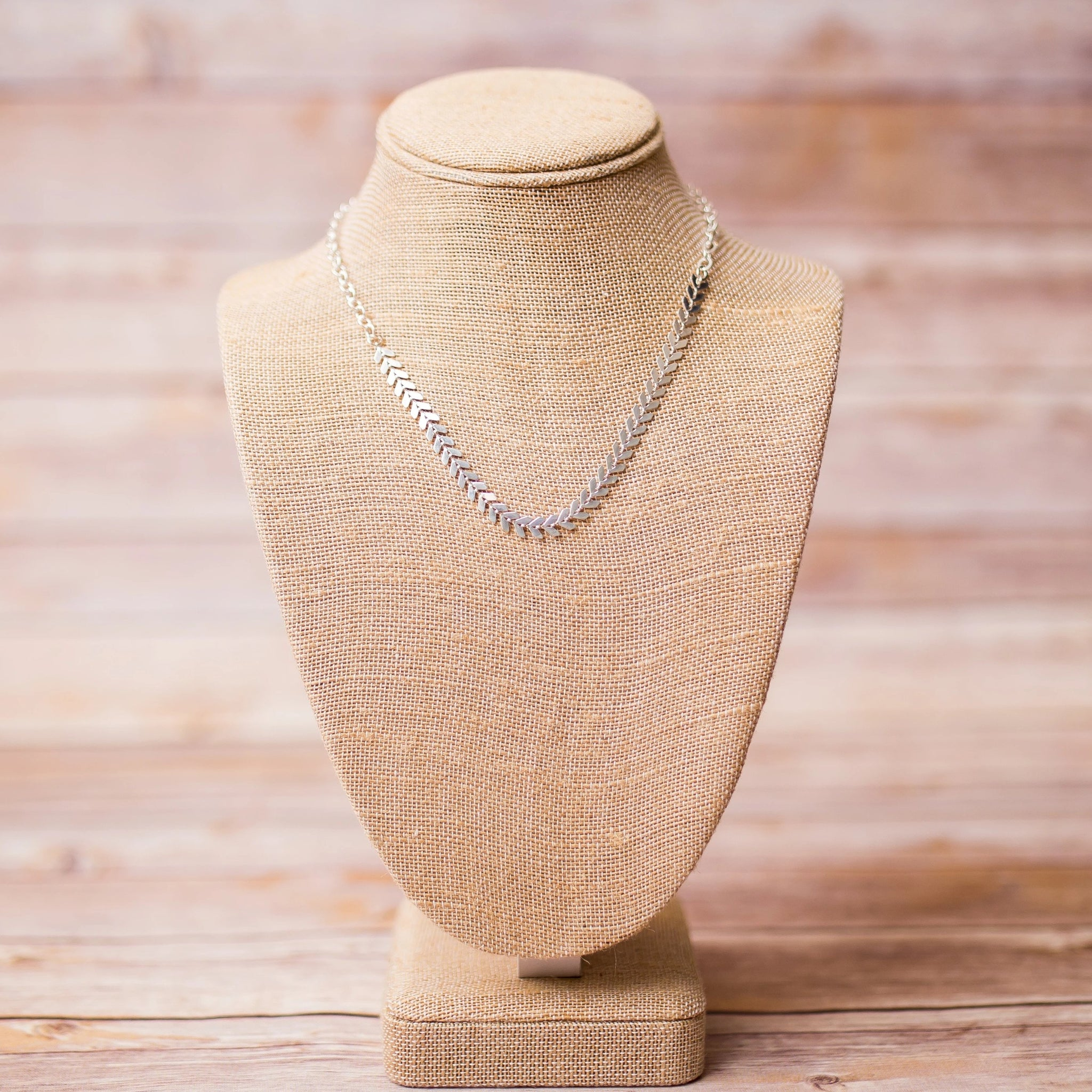 Chevron Silver Plated Necklace - Swara Jewelry