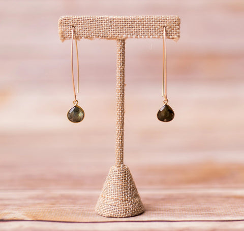 Oval Spike Earrings with Natural Gemstones - Swara Jewelry