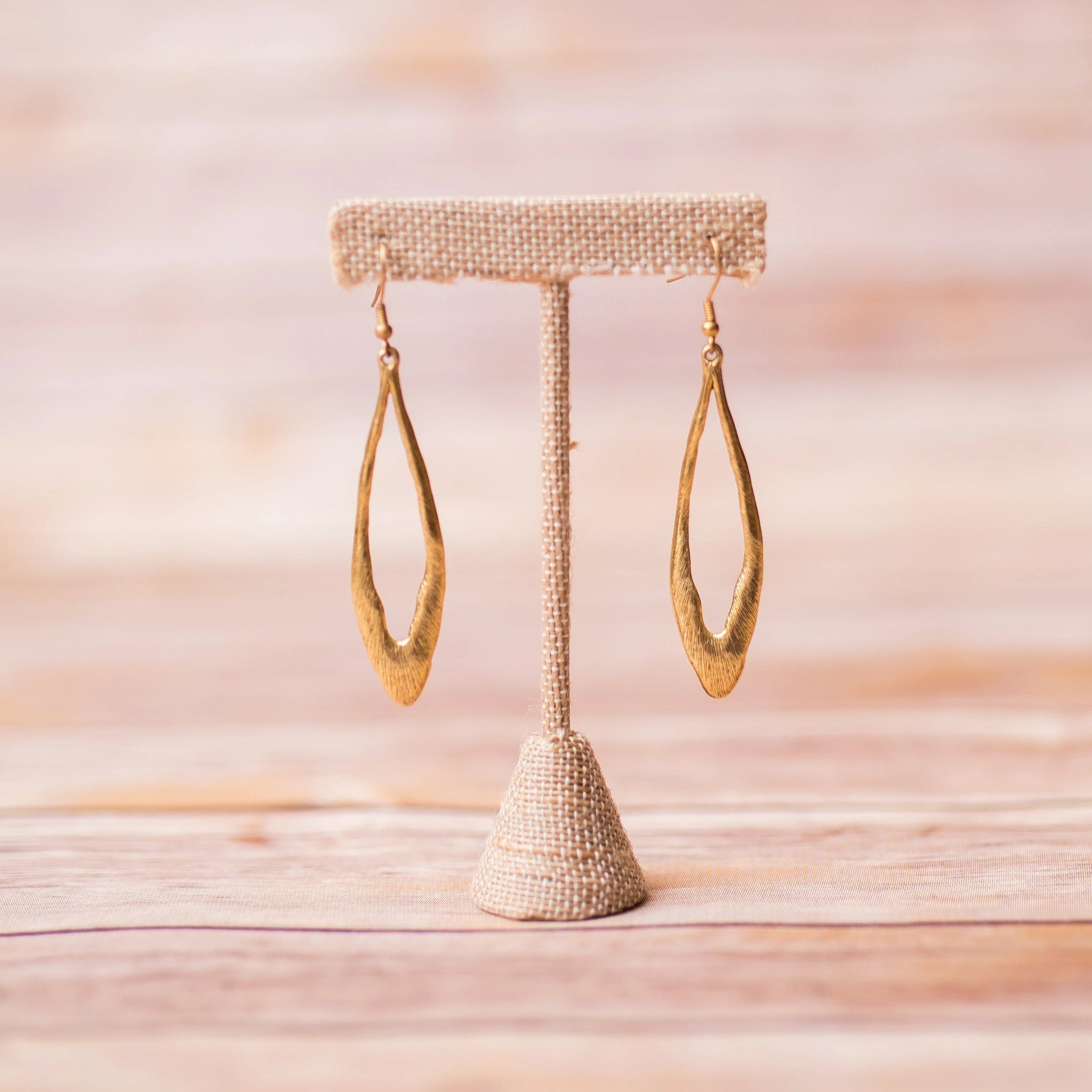 Oval Hoop Gold Plated Earrings - Swara Jewelry