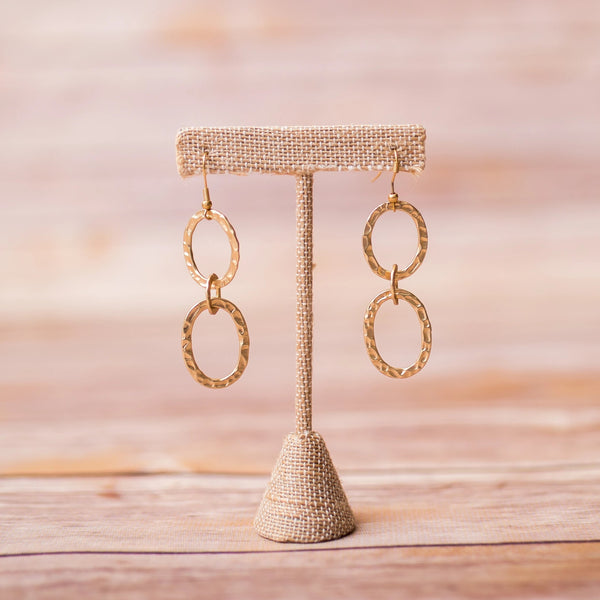 Hammered Triple Hoop Earrings - Swara Jewelry