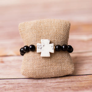 Cross Bracelet with Gemstone Beads - Swara Jewelry