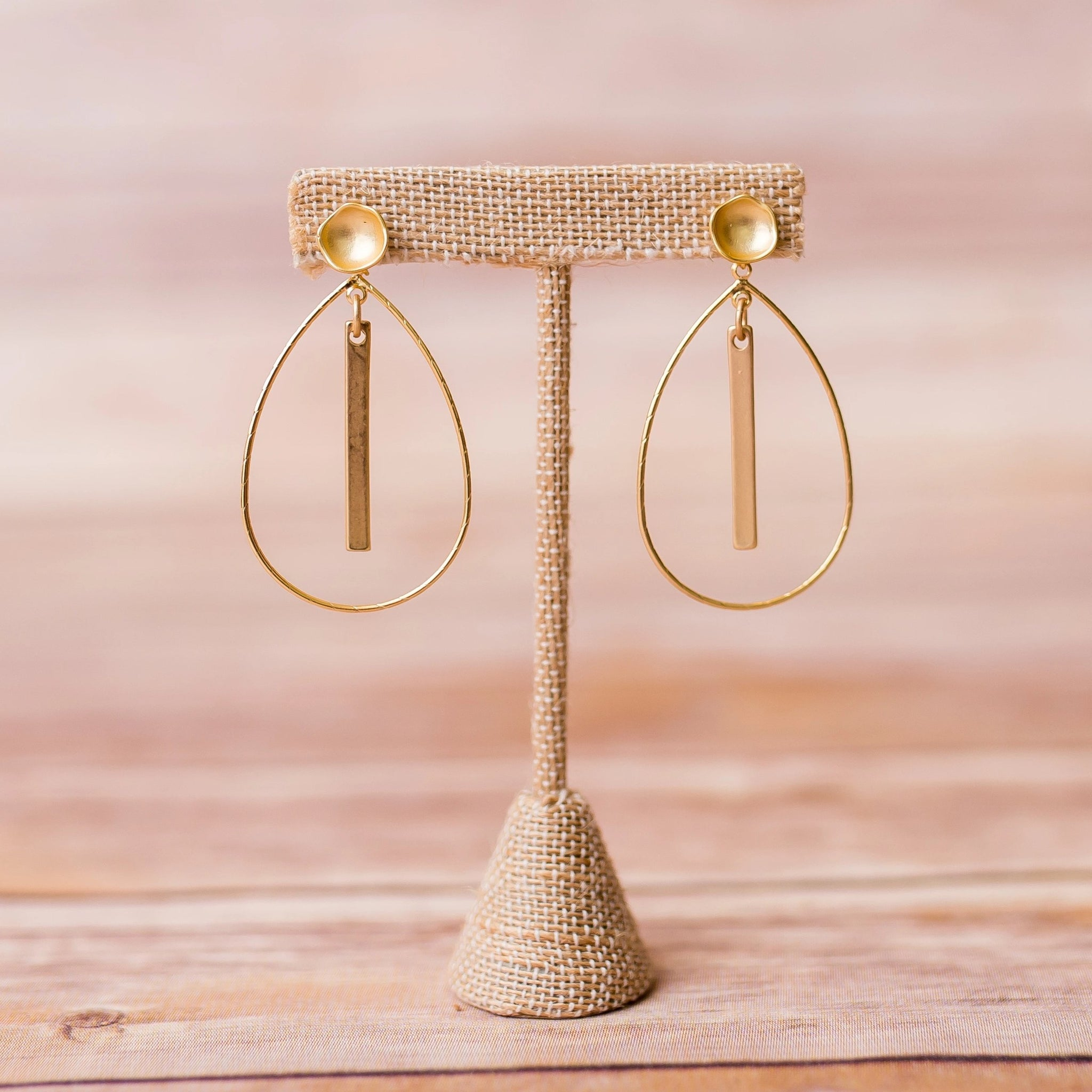 Hoop Earrings with Bar