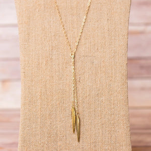 Double Lariat Spike Necklace