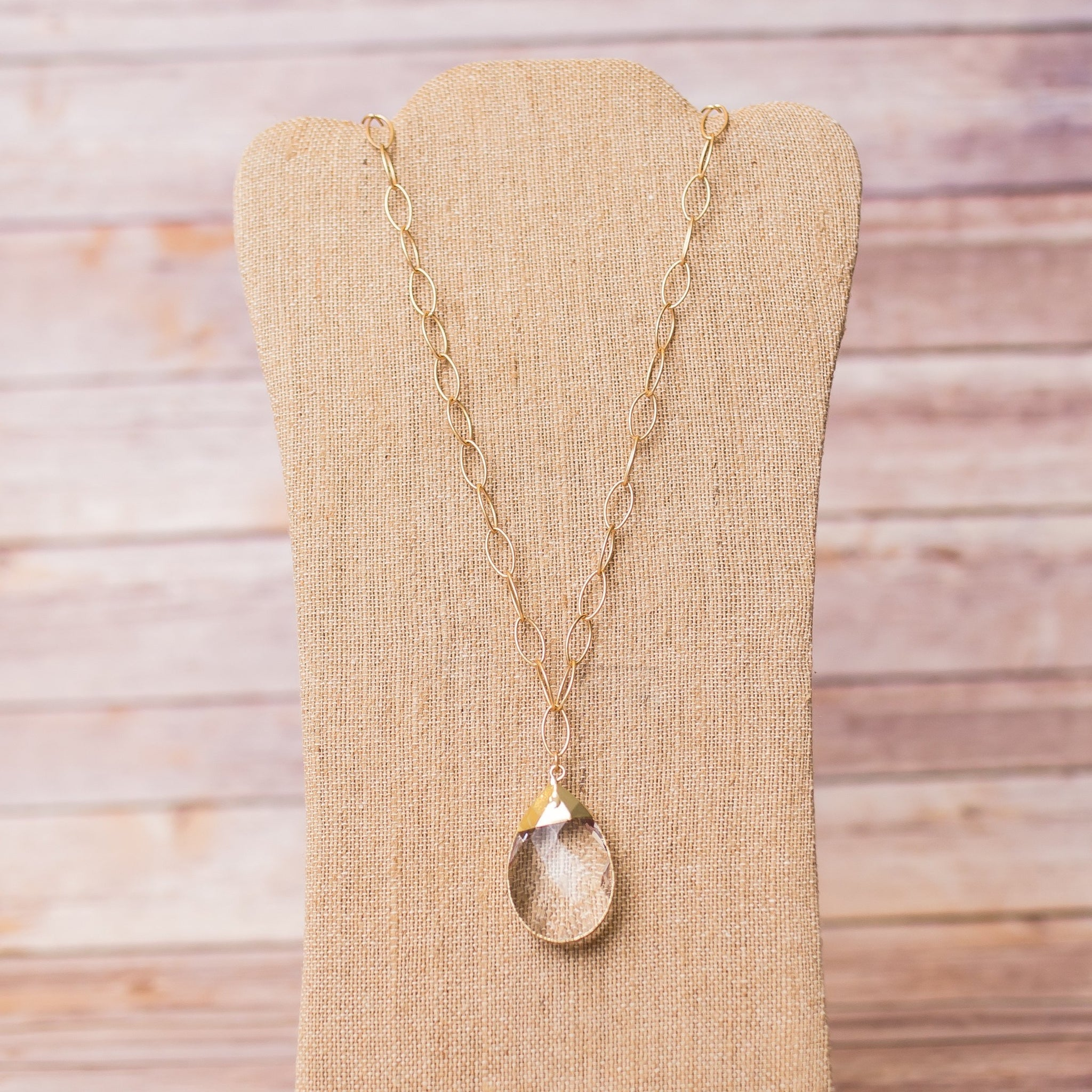 Gold Necklace with Crystal Pendant