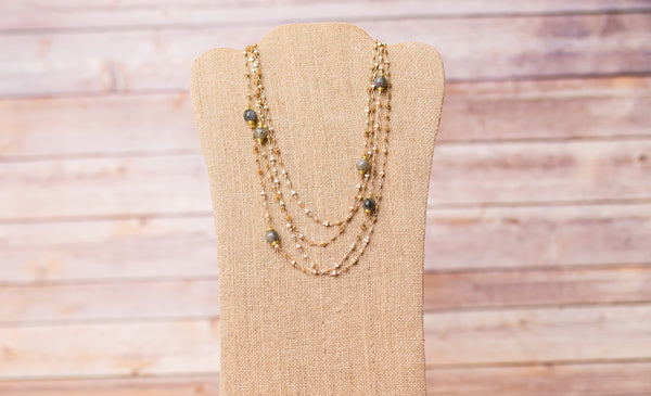 Double Strand Necklace with Wire Wrap Gemstones