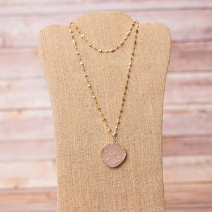 Druzy Pendant Gold Plated Necklace - Swara Jewelry