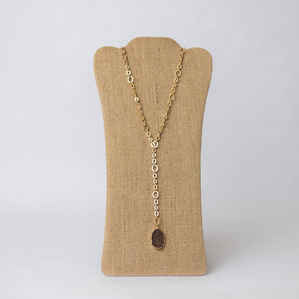 Lariat Necklace with Druzy Pendant - Swara Jewelry