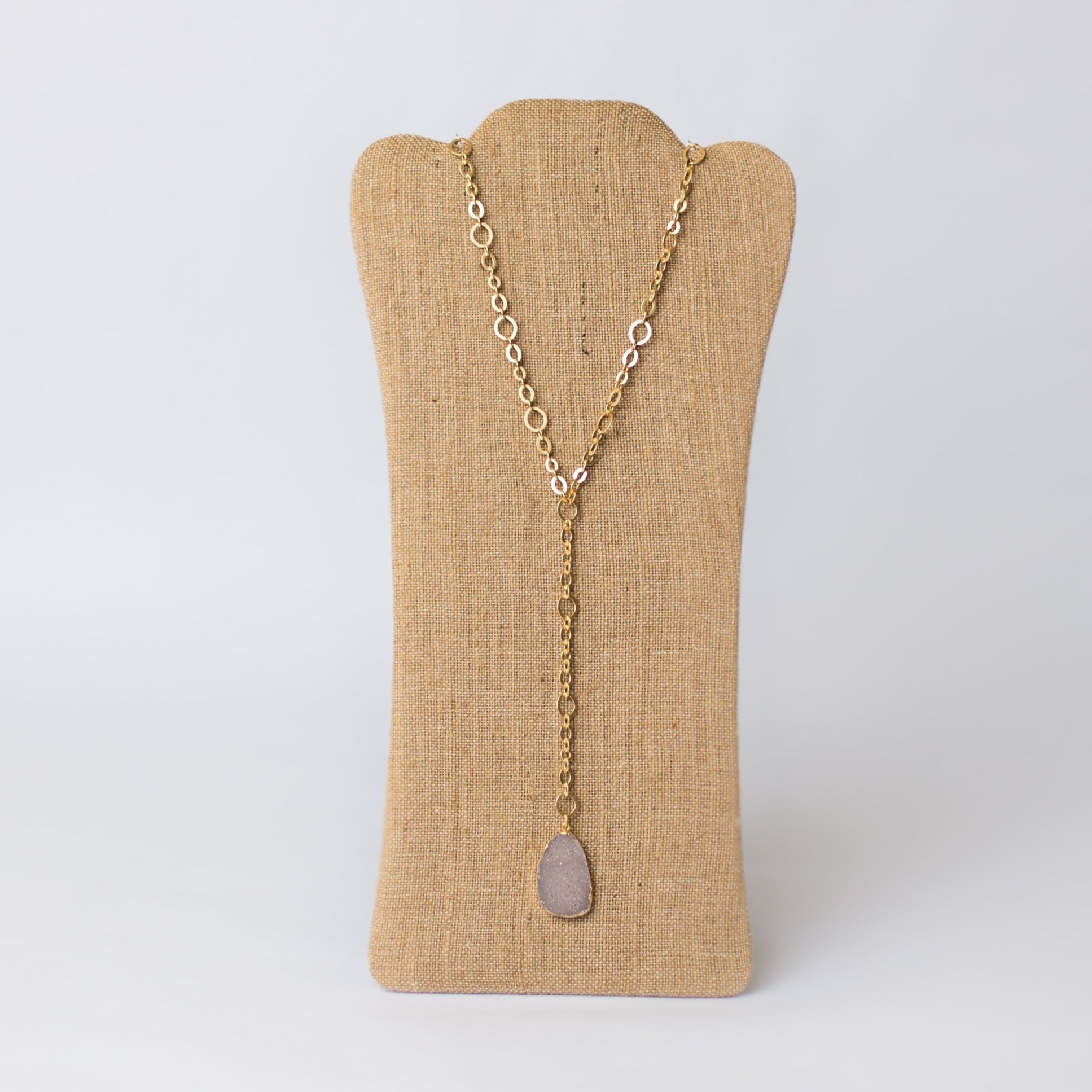 Y Necklace with Druzy Pendant - Swara Jewelry