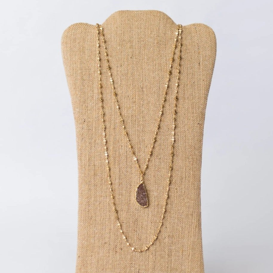 Double Layer Gold Plated Necklace with Druzy Pendant - Swara Jewelry