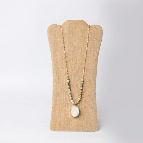 Gold Plated Beaded Necklace with Druzy Pendant - Swara Jewelry
