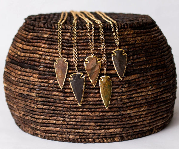 Gold Plated Necklace with Agate Arrowhead Pendant - Swara Jewelry