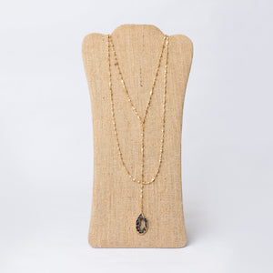 Double Layer Lariat Necklace with Geode Pendant