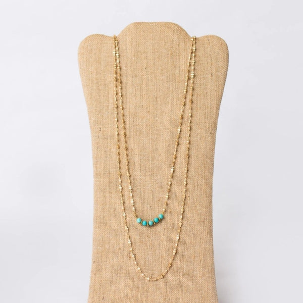 Double Layer Gold Plated Necklace with Gemstones - Swara Jewelry