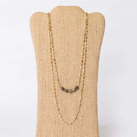 Double Layer Gold Plated Necklace with Gemstones