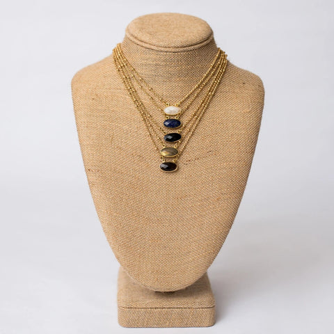 Petite Necklace with Gemstone Pendant - Swara Jewelry