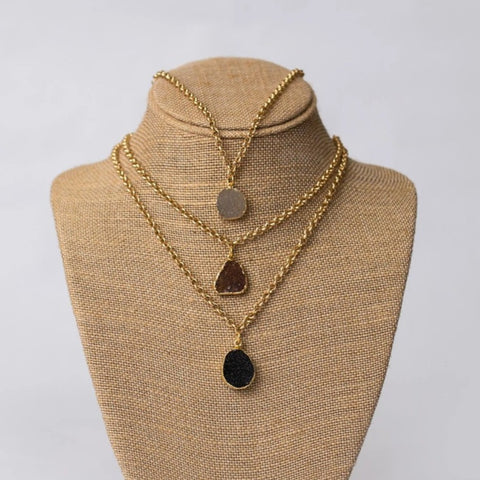 Gold Plated Necklace with Druzy Pendant - Swara Jewelry