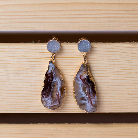 Geode Slab with Druzy Stud Earrings