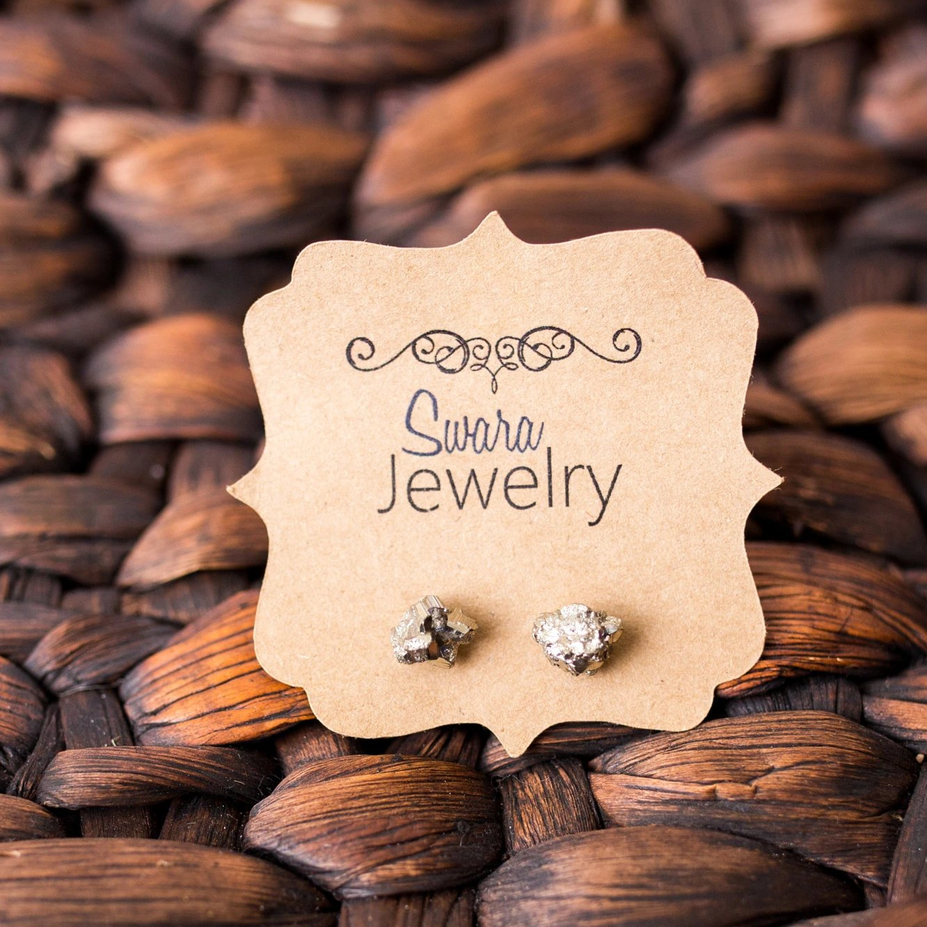 Pyrite Stud Earrings - Swara Jewelry