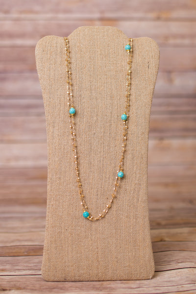 Double Strand Necklace with Wire Wrap Gemstones - Swara Jewelry