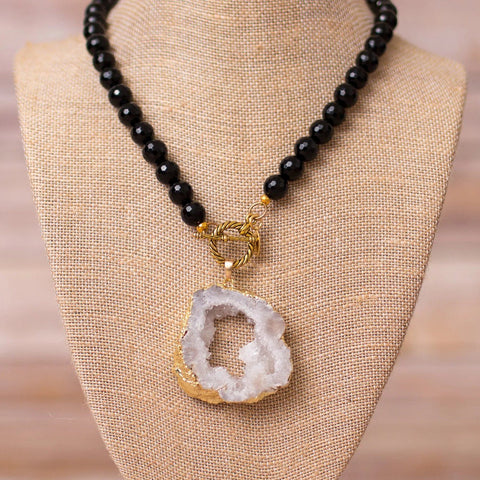 Full Beaded Agate Necklace with Large Druzy Pendant - Swara Jewelry
