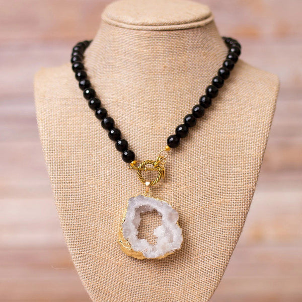 Full Beaded Agate Necklace with Large Druzy Pendant