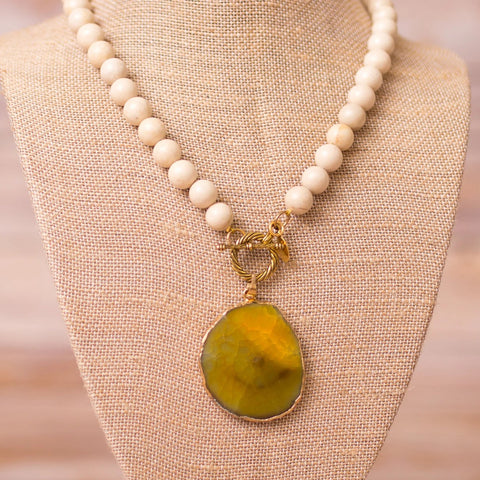 Fully Beaded Fossil Necklace with Agate Slab Pendant - Swara Jewelry