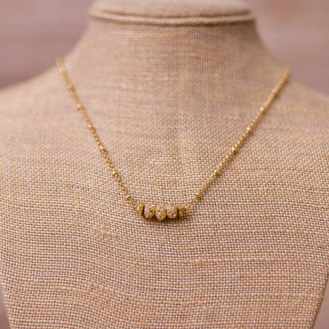 Petite Necklace with Pave Beads - Swara Jewelry
