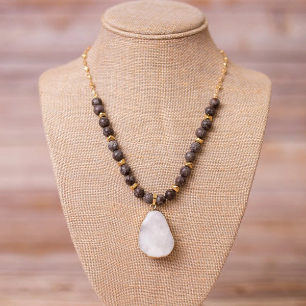 Beaded Necklace with Druzy Pendant - Swara Jewelry